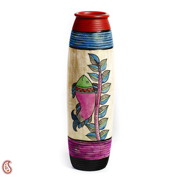 Multicolor Hand Painted Terracotta Vase With Fish And Leaf Motifs