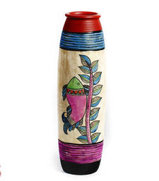 Multicolor Hand painted Terracotta Vase with Fish and Leaf Motifs vase