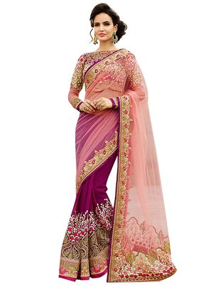 Pink net georgette embroidered saree with blouse