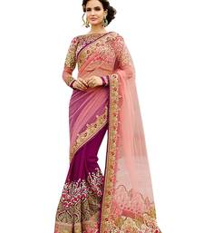 Buy Pink net georgette embroidered saree with blouse net-saree online