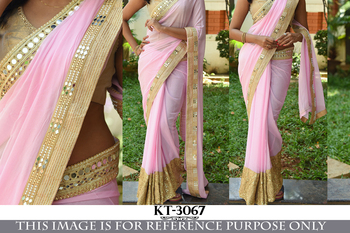 Pure pink georgette saree