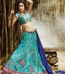 Buy Cyan net embroidered unstitched lehenga choli bridal-lehenga online