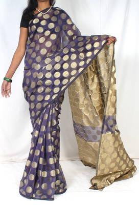 Banarasi supernet ghiccha pallu polka saree
