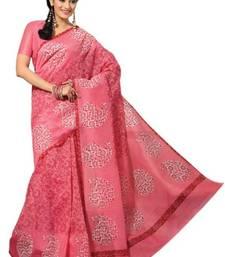 Buy Aria Pink cotton printed summer collection saree ks345 cotton-saree online