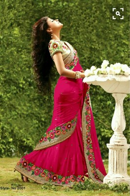 Pink Plain Georgette Saree With Blouse