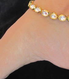 Buy GOLD TONE KUNDAN ANKLETS PAYAL PAIR  anklet online