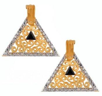 Triangle Gold Plated Filigree American Diamond Black Stone Earring