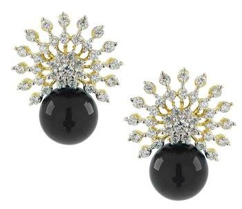 Star Burst American Diamond CZ Black Gold Rhodium Plated Stud Earring For Women