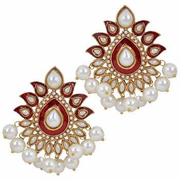 Traditional Gold Plated Red Maroon Meenakari Pearl Festive Earring