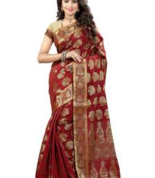 Buy Maroon woven art silk saree with blouse art-silk-saree online
