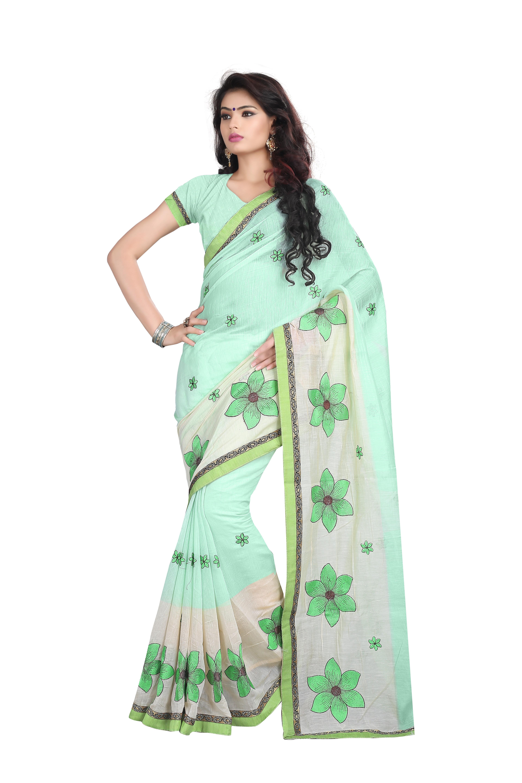 c8cff0dd7c3dc9 Light green embroidered cotton saree with blouse - Sai Trendz - 1687940