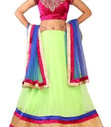Buy RAAS NET, VELVET Pink, Green Chaniya Choli velvet-saree online
