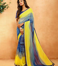 Buy Yellow printed crepe saree with blouse crepe-saree online