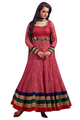 Red embroidered georgette unstitched salwar with dupatta