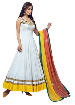 White embroidered georgette unstitched salwar with dupatta