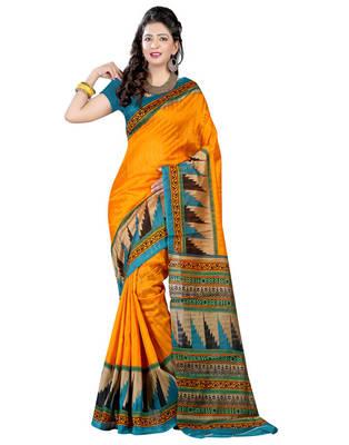 yellow  bhagalpuri silk saree with blouse