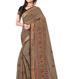 Buy Brown embroidered cotton saree with blouse cotton-saree online