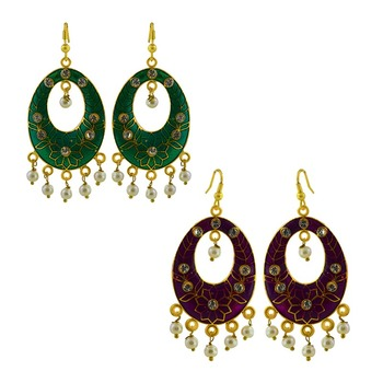 Multicolor diamond jhumkas