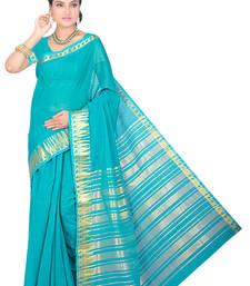Buy Light blue maheshwari  saree with blouse maheshwari-saree online