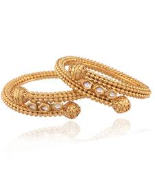 Buy Fascinating Gold plated kundan bangle bangles-and-bracelet online