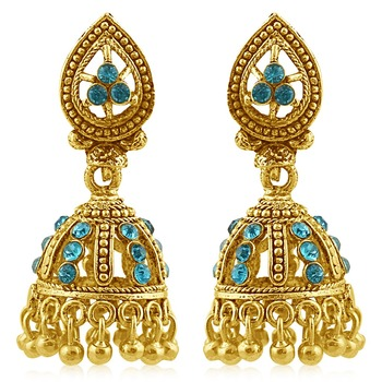 Magnificent Gold Plated Aqua Studded Jhumki Stone Earring For Women