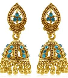 Buy Magnificent Gold Plated Aqua Studded Jhumki Stone Earring For Women jhumka online