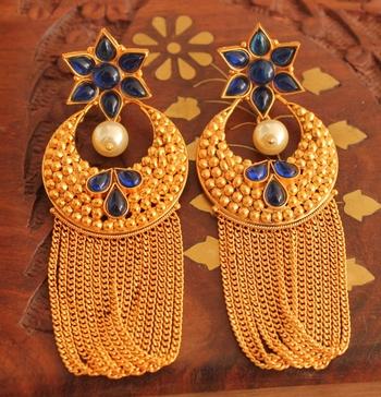 Gorgeous Matte Finish Blue Designer Earring