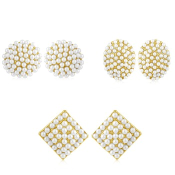 658a8231f Buy Gleaming Pearl Gold Plated Set of 3 Pair Stud Earring Combo For Women  Online
