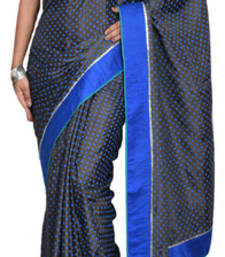 Buy Gray and blue embroidered satin saree with blouse satin-saree online