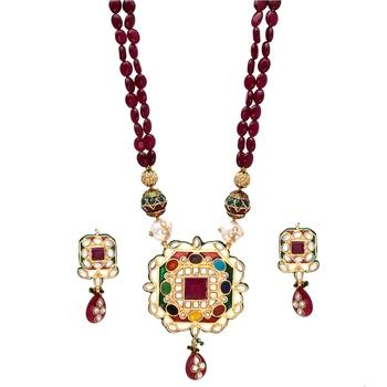 Maroon Navratan Royal Necklace Set