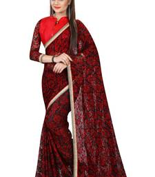 Buy Red printed net saree printed-saree online