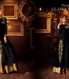 Buy Black embroidery tapeta silk semi stitched salwar with dupatta party-wear-salwar-kameez online