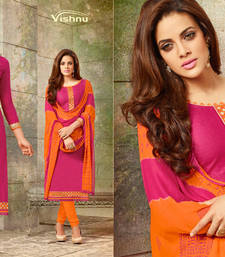 Buy Indian Designer Bollywood Partywear Pink Salvar Kameez Unstitched Dress Material MFab157 dress-material online