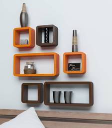 Buy MDF Cube Shape Floating Wall Shelves Set of 6 wall-decal online