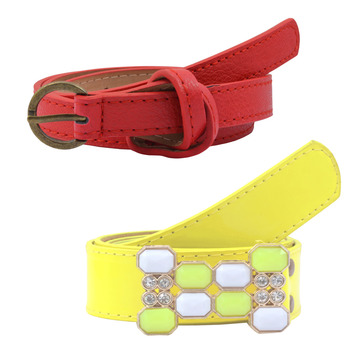 """"""" Yellow And Red Color"""" Belt Combo For Womens"""