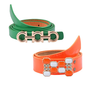 """"""" Floroscent Orange And Green Color"""" Belt Combo For Womens"""