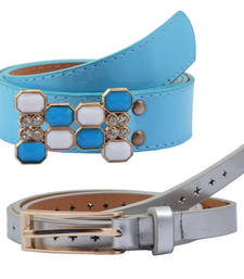 "Buy "" Blue and Silver Color"" Belt Combo For Womens gifts-for-sister online"