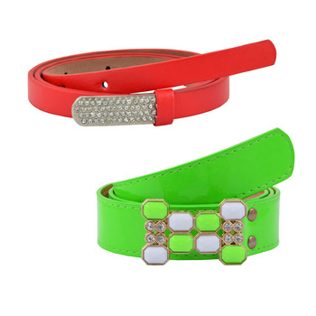 """"""" Floroscent Orange And Red Color"""" Belt Combo For Womens"""