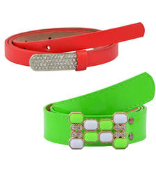"Buy "" Floroscent Orange and Red Color"" Belt Combo For Womens gifts-for-sister online"
