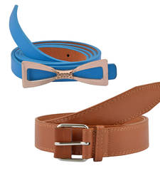 """Buy """"Brown and Blue"""" Belt Combo For Womens gifts-for-sister online"""