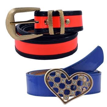 """ Blue And Floroscent  Orange Color"" Belt Combo For Womens"