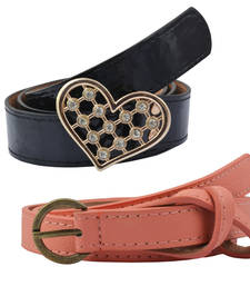 "Buy "" Black and Peach Color"" Belt Combo For Womens gifts-for-sister online"