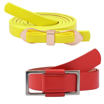 """ Yellow And Red Color"" Belt Combo For Womens"