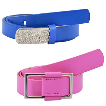 """ Pink And Blue Color"" Belt Combo For Womens"