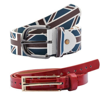 """ Flag Print And Red Color"" Belt Combo For Womens"