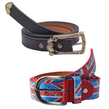 """ Printed Red And Black"" Belt Combo For Womens"