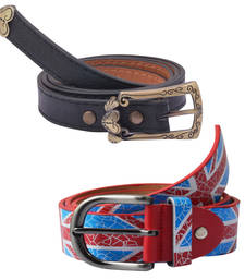 "Buy "" Printed Red and Black"" Belt Combo For Womens gifts-for-sister online"