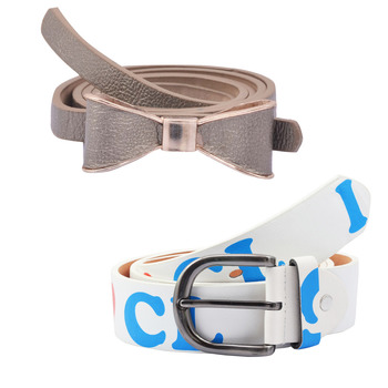 """"""" Printed White And Grey Color"""" Belt Combo For Womens"""