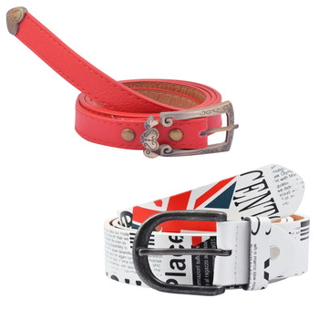 """ Printed White And Red Color"" Belt Combo For Womens"