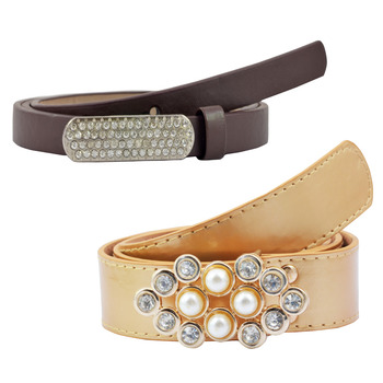 """"""" Beige And Brown Color"""" Belt Combo For Womens"""